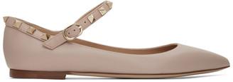 Valentino Pink Garavani Ankle Strap Rockstud Ballerina Flats