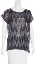 Brochu Walker Silk Sequin-Embellished Top w/ Tags