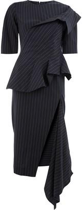 Monse asymmetric pinstripe ruffle dress