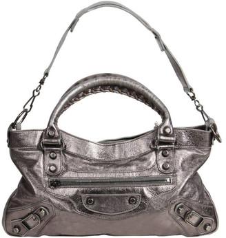 Balenciaga Metallic Silver Leather Mini City Tote Bag