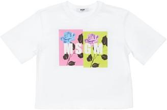 MSGM Printed Crop Cotton Jersey T-Shirt