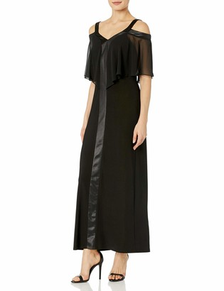 MSK Women's Knit to Woven Cold Shoulder Gown with Center Trim