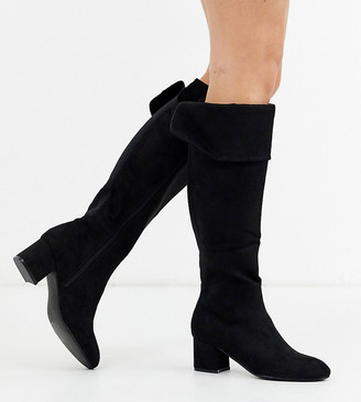 Simply Be extra wide fit Felicity stretch back knee high boot in black
