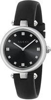 Gucci Women's Swiss Diamantissima Black Leather Strap Watch 32mm YA141403