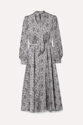 Co Printed Silk-charmeuse Midi Dress - Gray