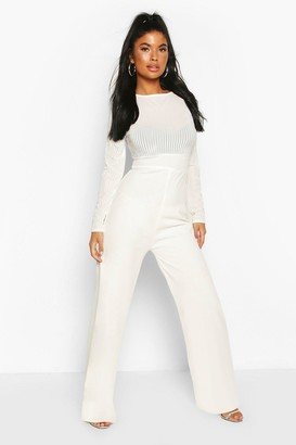 boohoo Petite Mesh Top Wide Leg Jumpsuit