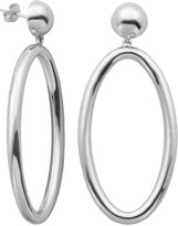 FINE JEWELRY Sterling Silver Bead Oval Drop Hoop Earrings