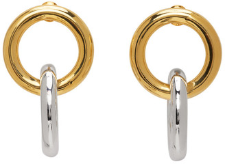 Numbering Gold and Silver 982 Combination Hoop Earrings