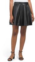 Juniors Faux Leather Skater Skirt