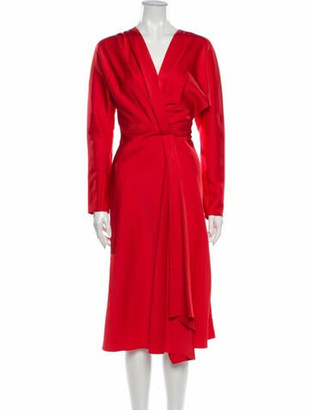 Victoria Beckham V-Neck Midi Length Dress w/ Tags Red