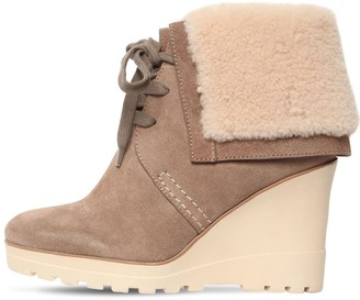 See by Chloe 90mm Rachel Suede & Fur Ankle Boots