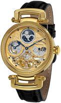 Stuhrling Original Sthrling Original Mens Gold-Tone Skeleton Leather Strap Automatic Watch