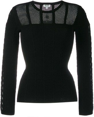 Kenzo Long-Sleeved Mesh Knit Top