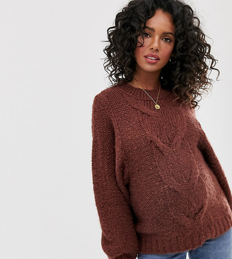 Asos DESIGN Maternity cable sweater in lofty yarn with volume sleeve-Brown
