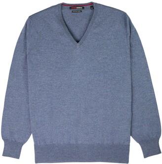Romeo Merino - Merino Wool V-Neck Sweater Blue Indigo