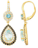 Fine Jewelry Genuine Blue Topaz & Black Spinel 14K Gold Over Silver Leverback Earrings