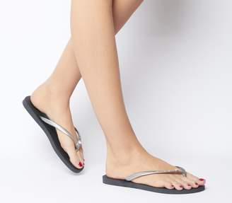 Havaianas Slim Crystal Glamour Flip Flops New Graphite