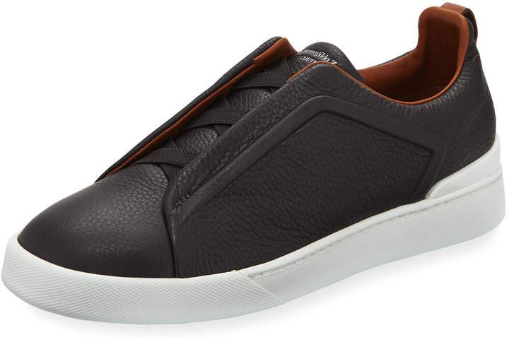Ermenegildo Zegna Triple-Stitch Slip-On Sneakers, Gray