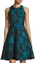 Maggy London Embellished Floral Jacquard Dress, Blue