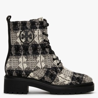 Tory Burch Miller 50MM Black White Perfect Black Lug Sole Ankle Boots