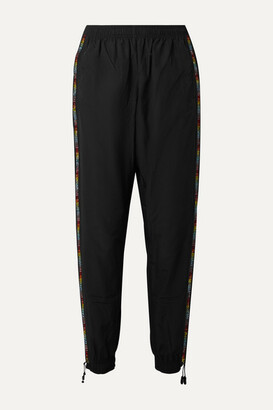 Adam Selman Crystal-embellished Shell Track Pants - Black