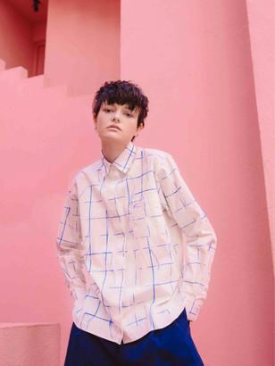 Henrik Vibskov Off White Crane Cotton Shirt with Blue Check Print - cotton   off white   Size XS - Off white