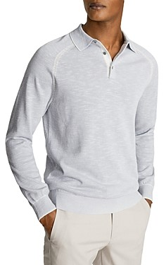 Reiss Max Melange Regular Fit Long Sleeve Polo Shirt