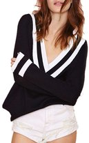 JYE Fashion Navy Style Womens Long Sleeve Deep V Neck Casual Knit Sweater XS-XXL