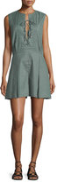 Derek Lam 10 Crosby Sleeveless Pleated Linen-Blend Romper, Army