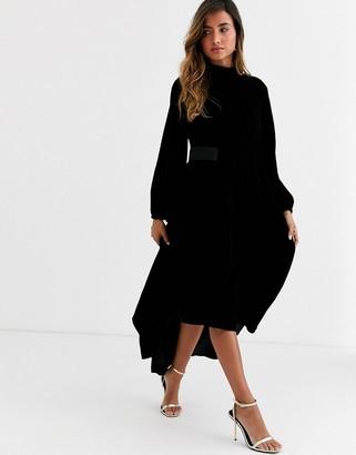 Asos Design DESIGN Copenhagen velvet high neck midi dress with blouson sleeve