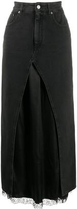 MM6 MAISON MARGIELA Denim Layered Long Skirt