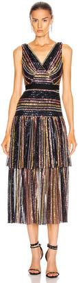 Self-Portrait Stripe Sequin Midi Dress in Multi | FWRD