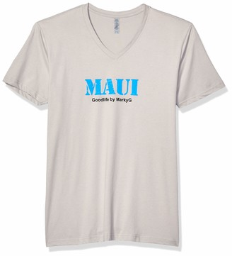 Marky G Apparel Men's Maui Graphic Sueded V-Neck T-Shirt