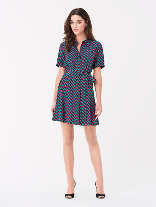 Diane von Furstenberg Jett Silk Crepe de Chine Mini Shirt Dress