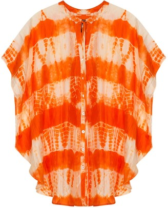 Gisy Fire Tie-Dyed Silk Kaftan Top