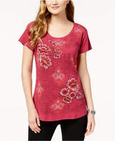Style&Co. Style & Co Printed Embroidered T-Shirt, Created for Macy's
