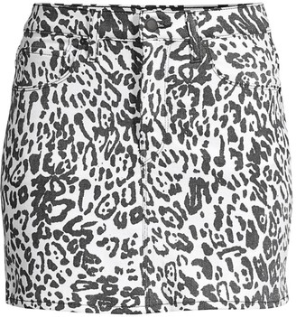 Hudson Jeans Animal-Print Denim Mini Skirt