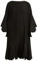 Valentino Scalloped-edge Silk-georgette Dress - Womens - Black