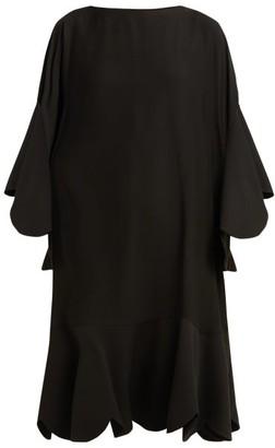 Valentino Scalloped-edge Silk-georgette Dress - Black