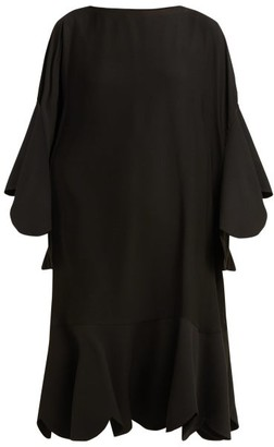 Valentino Scalloped-edge Silk-georgette Dress - Womens - Black