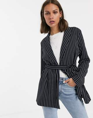 Only Carolina stripe belted blazer-Navy