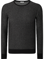 J. Lindeberg Marc Mouliné Cotton Knit Jumper, Black Mouline