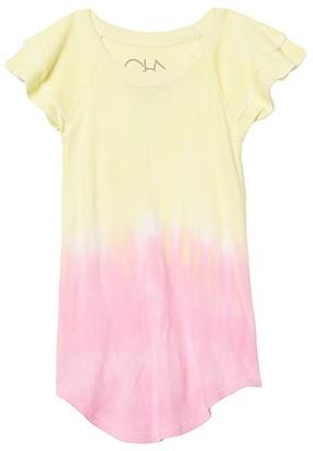 Chaser Baby Rib Flutter Sleeve Shirttail Mini Dress (Toddler/Little Kids) (Dip-Dye) Girl's Clothing