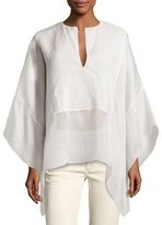 Ralph Lauren Belinda Split-Neck Caftan Top, Ivory