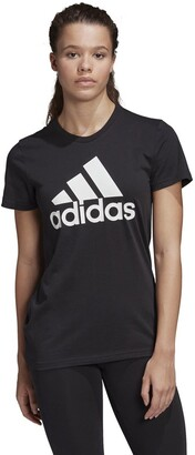 adidas Cotton Sports Logo T-Shirt with Crew-Neck and Short Sleeves