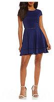 Jodi Kristopher Trim Inset Textured Knit Skater Dress
