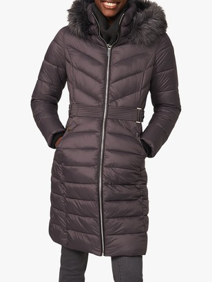 Phase Eight Synthia Long Detachable Hood Puffer Coat, Pewter