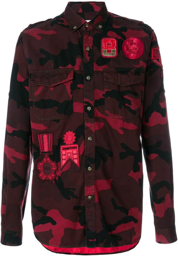Valentino badge camouflage button down shirt