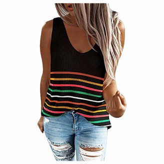 CUTUDE Vest Women's Summer Casual Loose V Neck Button Down Cami Ladies Fashion Solid Color Stripe Print Tank Tops Sleeveless Knit Sling Shirt Blouse (White M)