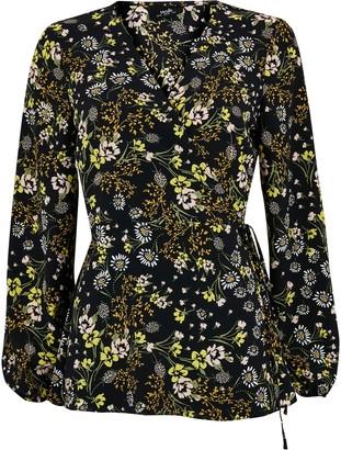 Wallis Black Floral Wrap Top